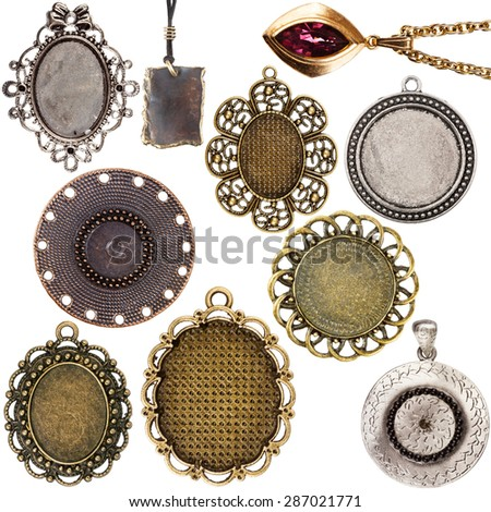 Collection of vintage pendants isolated on white background