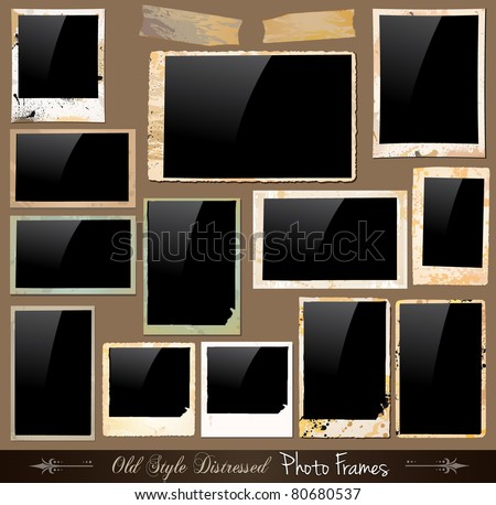 Collection of Vintage Photo Frames with antique distressed look. Behind black square backgraound are complete with drops and colours with unique old style. - stock photo