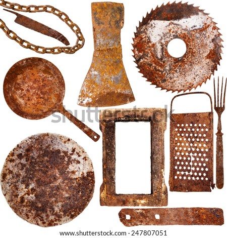 Collection of vintage rusty iron items isolated on white background - stock photo