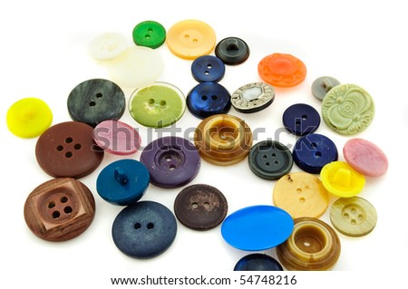 Collection of vintage sewing buttons in white