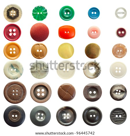 Collection of vintage sewing buttons isolated in white - stock photo