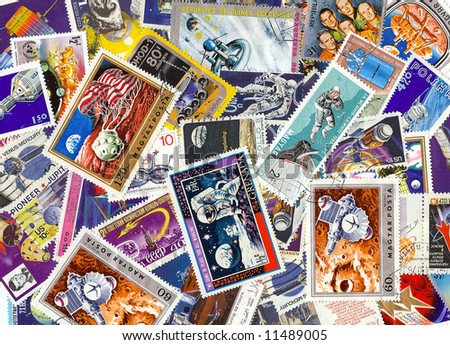 collection of vintage space stamps from different countries jumbled up - stock photo