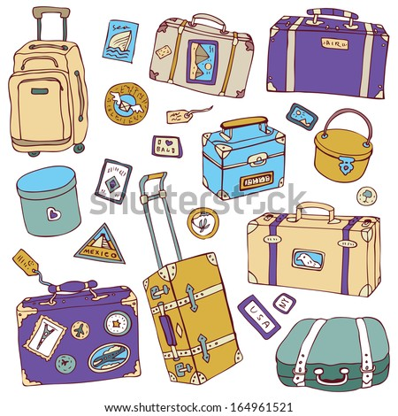Collection of vintage suitcases. Travel Illustration isolated.