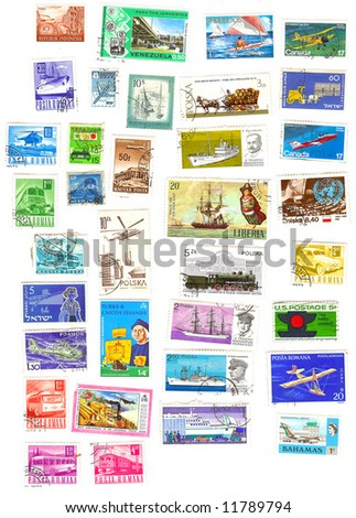 collection of vintage transportation stamps from different countries - stock photo