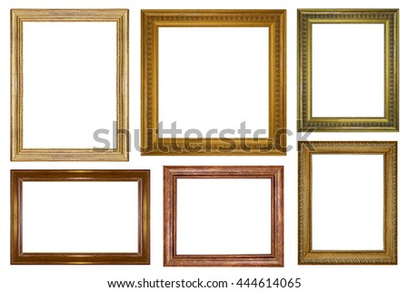 collection of vintage wood picture frame isolated on white