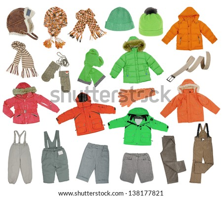 collection of warm children's clothing - stock photo