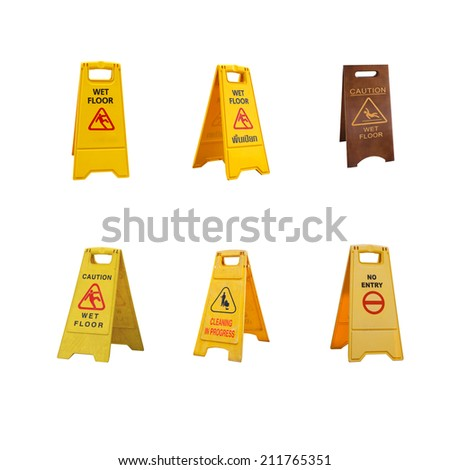 collection of  warning sign board isolated on white background . - stock photo