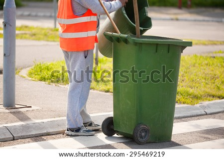 collection of waste in the city - stock photo