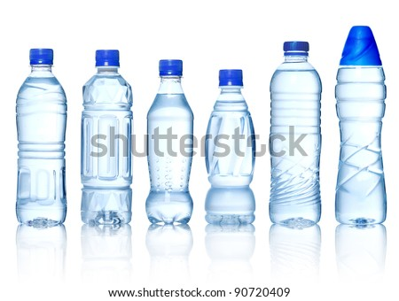 Collection of water bottles isolated on white background - stock photo
