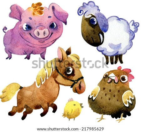 Collection of watercolor farm animals - stock photo