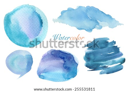 Collection of watercolor hand painted design elements background. Texture paper. - stock photo