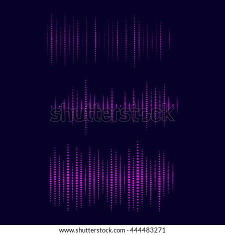 Collection of waveform. illustration for club, radio, party, concerts or the audio technology advertising background. Easy to use.