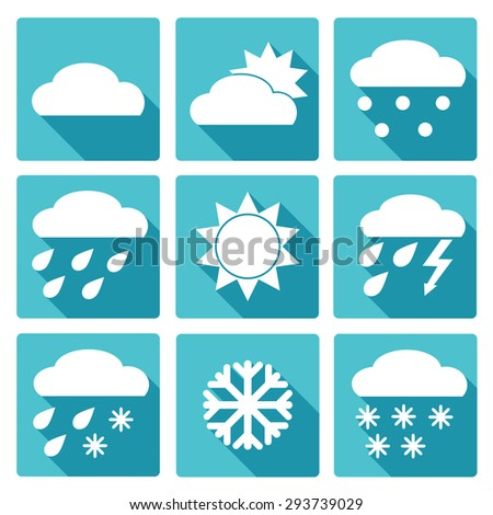 Collection of Weather Icons in blue flat design style