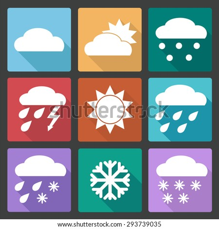 Collection of Weather Icons in colored flat design style