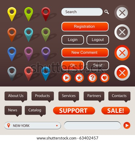 Collection Of Website And GPS Navigation Elements For Your Web Projects - stock photo