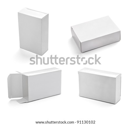 collection of  white box on white background. each one is shot separately - stock photo