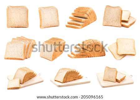 Collection of white bread. isolated on white background - stock photo