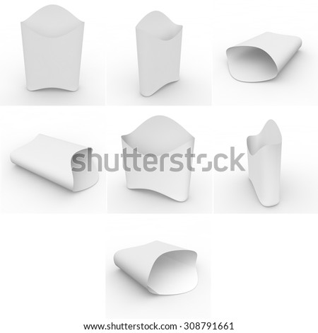 Collection of white empty packages for french fries and other products and goods. Isolated background - stock photo