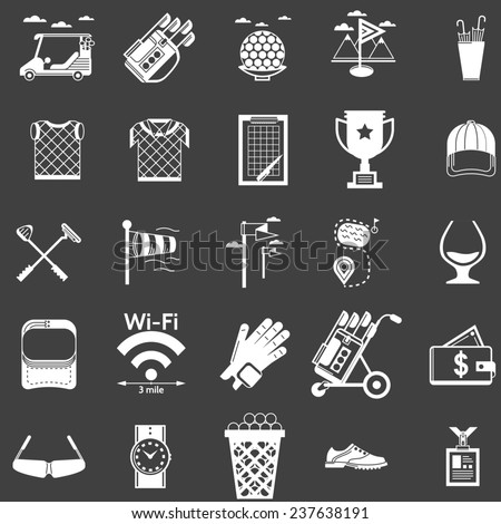 Collection of white icons for golf. White silhouette icons set for golf on black background. - stock photo