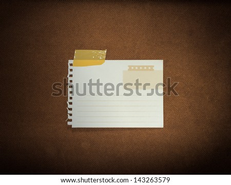 Collection of white note papers for your message on grunge wood background