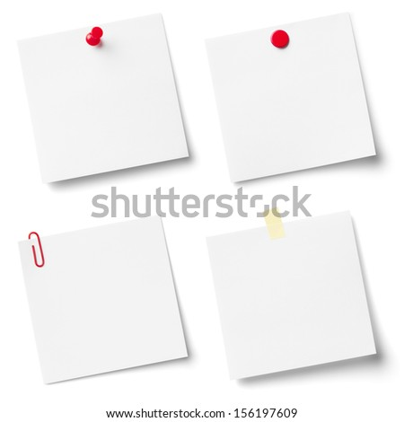 Collection of white note papers, isolated on the white background. - stock photo
