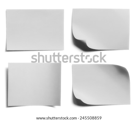 collection of white note papers on white background - stock photo