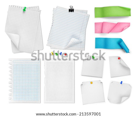 collection of white pages, stickers, paper clips and bookmarks isolated on white background