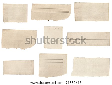 collection of  white ripped pieces of news paper on on white background. each one is shot separately - stock photo