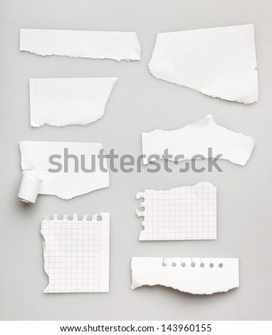 Collection of white ripped pieces of paper on white background - stock photo
