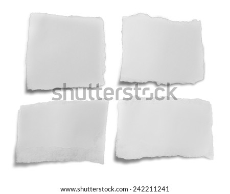 collection of white ripped pieces of paper on white background. - stock photo