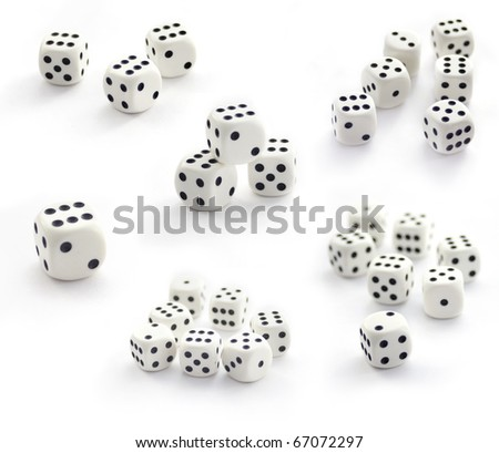 Collection of white  six sided dices isolated on white - stock photo