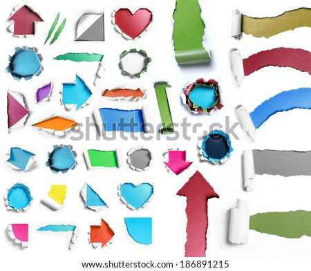 collection of white torn paper with many color and shape - stock photo