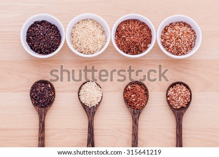 Collection of whole grain Thai jasmine rice,rice berry and brown rice best rice for healthy and clean food.