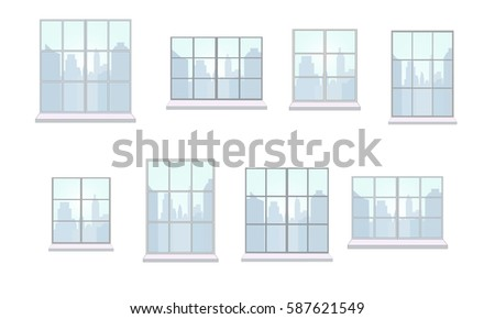 Collection of window frames of various shapes. The view from the window of day city. Suitable for home and office interior. Flat style raster copy of illustration. Horizontal.