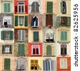collection of windows with shutters from Italy - stock photo