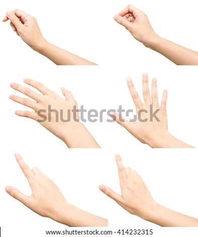 Collection of woman hand isolated on white background