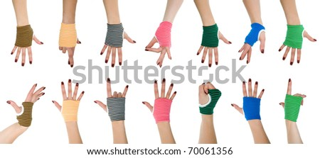 collection of woman hands in gloves