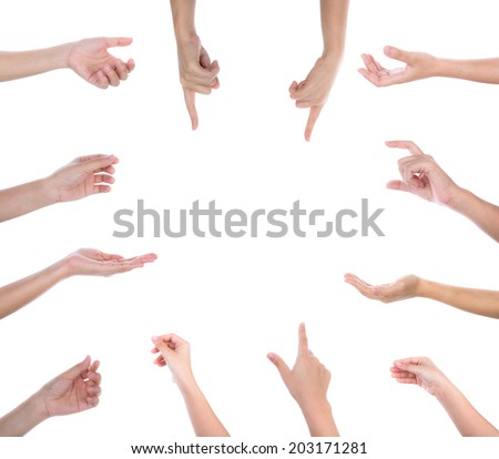 collection of woman hands on white background - stock photo