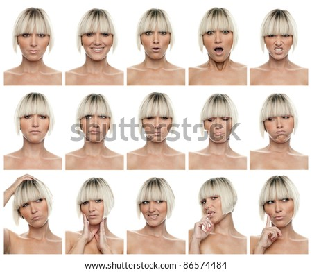 collection of woman portraits with different expressions , you can find full resolution images separately in my portfolio - stock photo