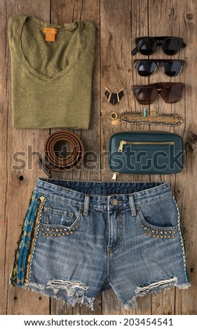 Collection of woman's summer clothing shot from above - stock photo