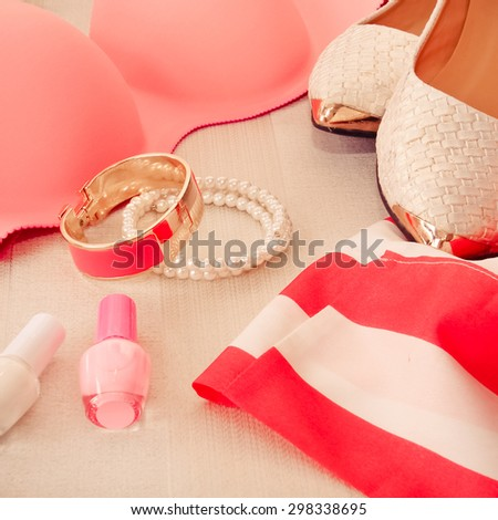 collection of women's clothing and accessories - stock photo