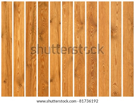 Collection of wood planks textures isolated on white - stock photo