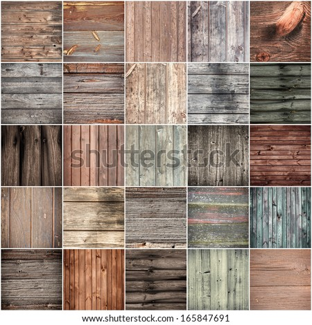 Collection of wood texture backgrounds - stock photo