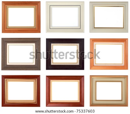 Collection of 9 wooden classical picture frames for your individual content.
