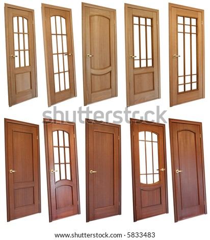Collection of wooden doors isolated on white - stock photo