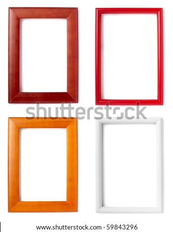 collection of wooden frames on white background. each one is in full camera resolution - stock photo