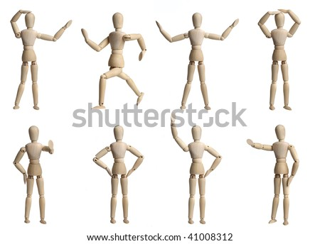 Collection of wooden Mannequins - stock photo
