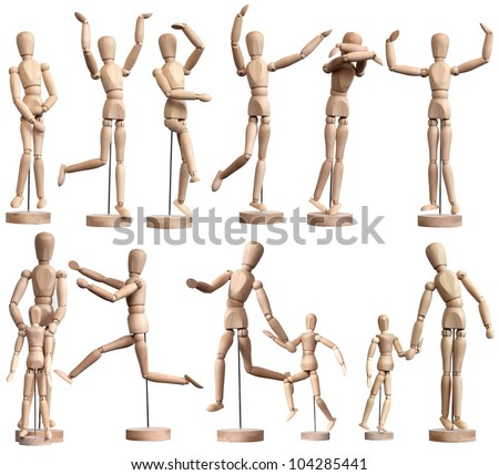 Collection of wooden Mannequins on white - stock photo