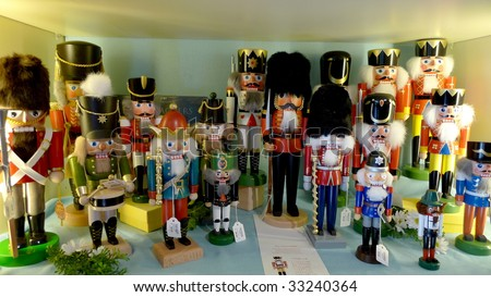 Collection of wooden nutcrackers. - stock photo