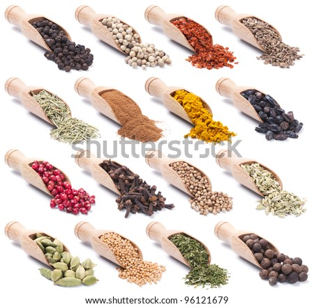 Collection of wooden shovels with spices and herbs - stock photo